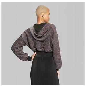 Women's Cropped Dolman Metallic Hoodie